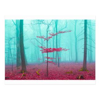 赤およびターコイズの神秘的な森林 ポストカード