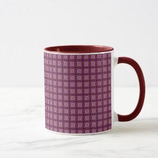 赤およびピンクのモロッコのタイルパターン マグカップ