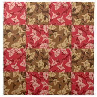 赤およびブラウンの紅葉の秋の花柄パターン ナプキンクロス