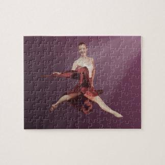 赤およびラベンダーのバレリーナの跳躍 ジグゾーパズル
