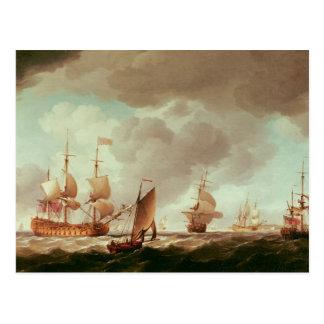 赤および彼のの英国の副海軍大将 ポストカード
