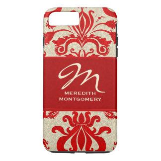 赤および暗灰色のダマスク織のプロフェッショナルのテーマ iPhone 8 PLUS/7 PLUSケース
