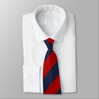 赤および濃紺のストライプ オリジナルネクタイ