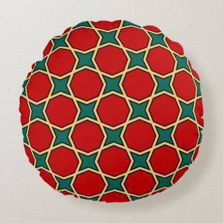 赤および緑のエジプトのアラビア幾何学的なパターン ラウンドクッション