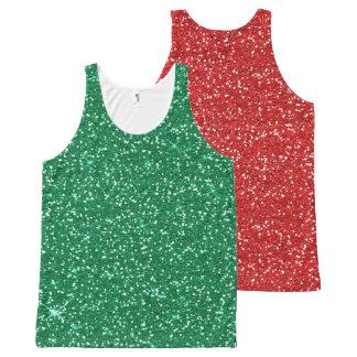 赤および緑のグリッター オールオーバープリントタンクトップ