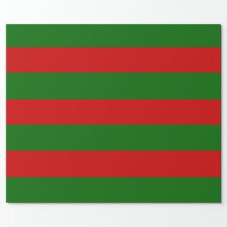 赤および緑のストライプ ラッピングペーパー