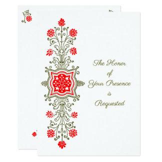 赤および金の結婚式招待状の花のエッチング カード
