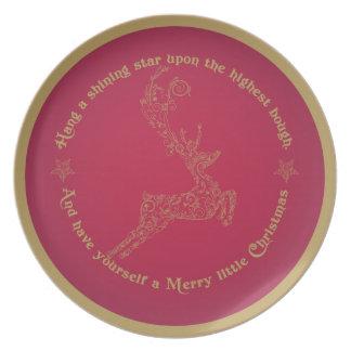 赤および金ゴールドのクリスマスのトナカイのプレート プレート