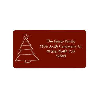 赤および金ゴールドのクリスマスツリーの宛名ラベル ラベル
