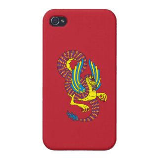 赤および金ゴールドのドラゴンのiPhoneの場合 iPhone 4/4S カバー