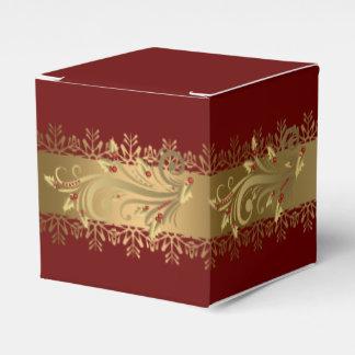 赤および金ゴールドのヒイラギの企業のなクリスマスのプレゼント フェイバーボックス