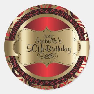 赤および金ゴールドの渦巻の抽象芸術の誕生日 ラウンドシール