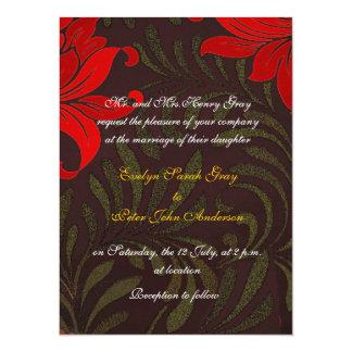 赤および金ゴールドの花のダマスク織の結婚式 14 X 19.1 インビテーションカード
