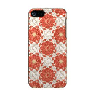 赤および金ゴールドの花のレースパターン メタリックiPhone SE/5/5sケース