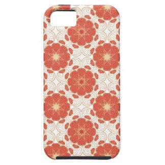 赤および金ゴールドの花のレースパターン iPhone SE/5/5s ケース