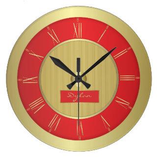 赤および金ゴールド ラージ壁時計
