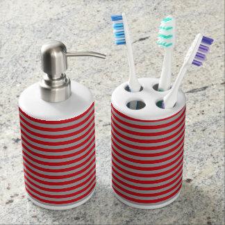 赤および銀のストライプなバスセット 歯ブラシスタンド