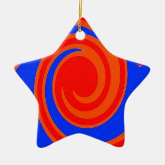 赤および青い渦巻 セラミックオーナメント