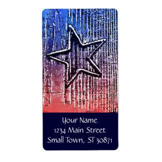赤および青のクールで素朴な星のポップアートのプリント ラベル