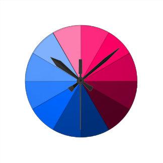 赤および青 ラウンド壁時計
