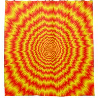 赤および黄色の大きい強打 シャワーカーテン