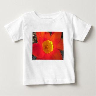 赤および黄色の開いたチューリップの花 ベビーTシャツ