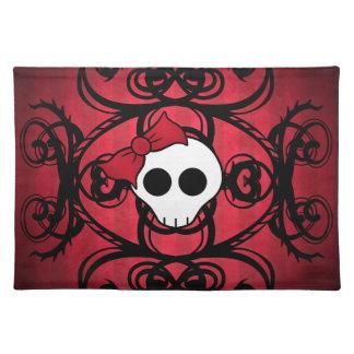 赤および黒のかわいいゴシック様式スカル ランチョンマット