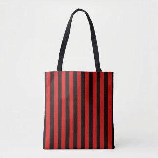 赤および黒のストライブ柄、ミラノのサッカーチーム、イタリア トートバッグ