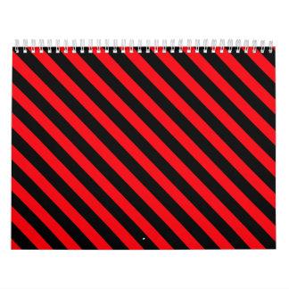 赤および黒のストライプ カレンダー