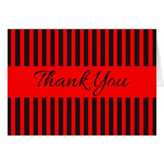 赤および黒のストライプ-結婚披露宴ありがとう カード