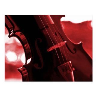 赤および黒のバイオリン ポストカード