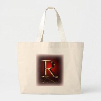 """赤および黒のVIPの金ゴールド""""R""""のモノグラム ラージトートバッグ"""