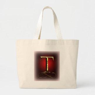 """赤および黒のVIPの金ゴールド""""T""""のモノグラム ラージトートバッグ"""