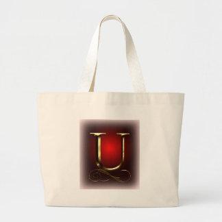 """赤および黒のVIPの金ゴールド""""U""""のモノグラム ラージトートバッグ"""