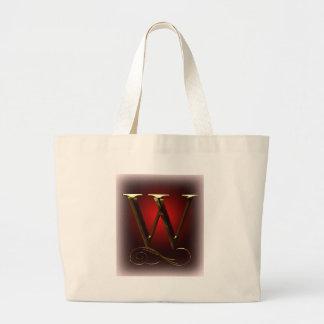 """赤および黒のVIPの金ゴールド""""W""""のモノグラム ラージトートバッグ"""