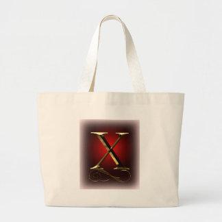 """赤および黒のVIPの金ゴールド""""X""""のモノグラム ラージトートバッグ"""