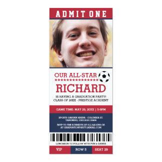 赤くおよび青のサッカーの卒業パーティーの招待 10.2 X 23.5 インビテーションカード