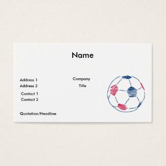 赤くおよび青のサッカーの走り書きのグラフィック 名刺