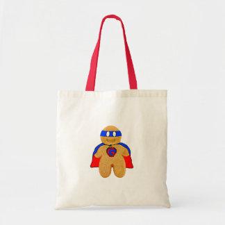 赤くおよび青のジンジャーブレッドマンの英雄のバッグ トートバッグ