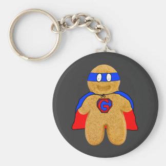 赤くおよび青のジンジャーブレッドマンの英雄の鍵鎖 キーホルダー