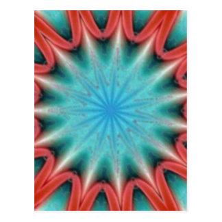 赤くおよび青のスターバストの郵便はがき ポストカード