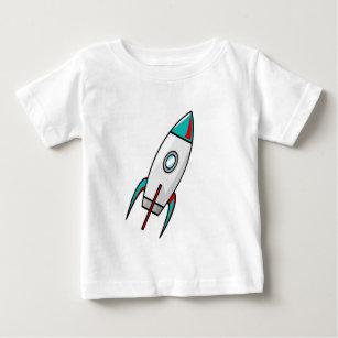 赤くおよび青のロケット ベビーTシャツ