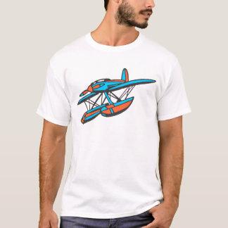 赤くおよび青の水上飛行機 Tシャツ