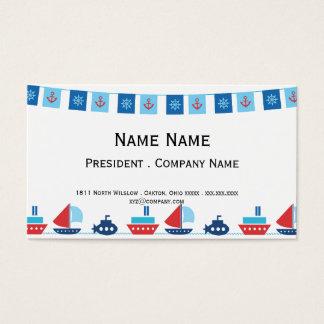 赤くおよび青の船そして長旗 名刺