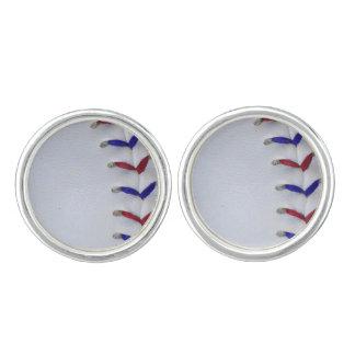 赤くおよび青の野球/ソフトボールのステッチ カフスボタン