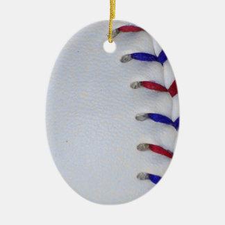 赤くおよび青の野球/ソフトボールのステッチ セラミックオーナメント