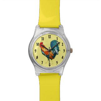 赤くおよび黄色のオンドリの鳥の動物の腕時計 腕時計