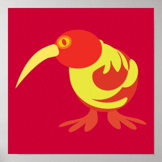 赤くおよび黄色のキーウィ ポスター