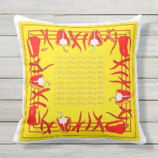 赤くおよび黄色のコショウは枕を設計しました アウトドアクッション