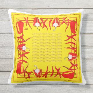 赤くおよび黄色のコショウは枕#3を設計しました アウトドアクッション